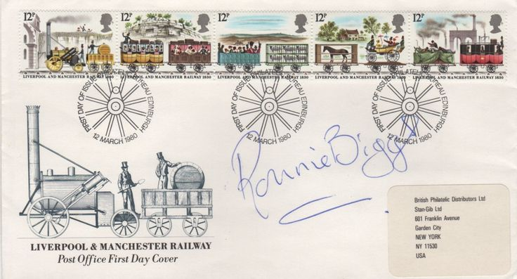 BIGGS RONNIE: (1929-2013) English Criminal, known for his role in the Great Train Robbery of 1963. Signed First Day Cover issued by the Post Office to commemorate the Liverpool and Manchester Railway and featuring a set of five different postage stamps with illustrations relating to the railway line. Signed by Biggs in blue ink with his name alone to a clear area of the cover.