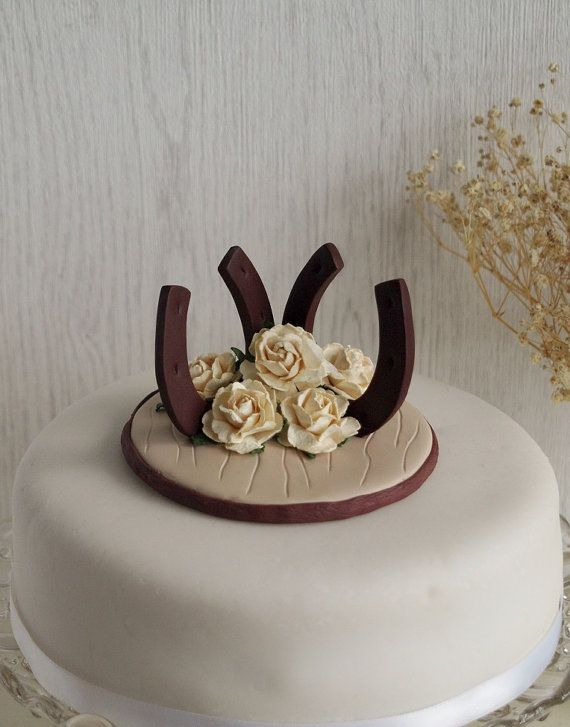 Wedding Horseshoe Roses Cake Topper  Wedding by TiaLovesArchie