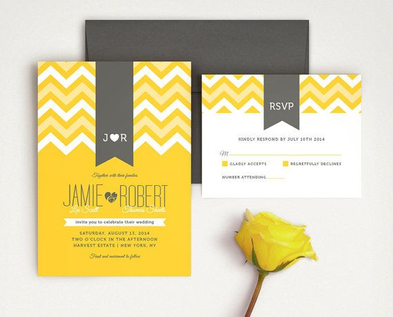 These yellow chevron wedding invitations, set the tone for a very sophisticated and modern wedding. Featuring geometric triangle shapes, ribbon