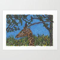 Art Print featuring Giraffe by Juliana Kroscen