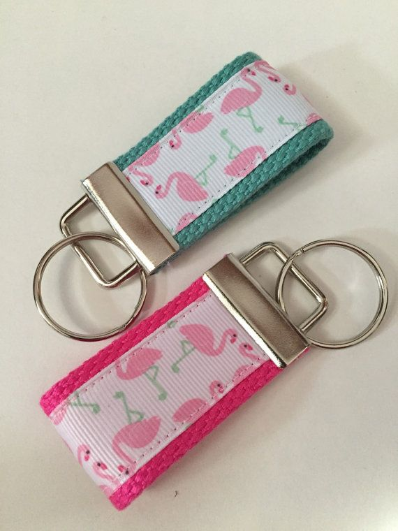 Flamingo KeyFob Flamingo fabric Flamingo Wrist Fobs by megsygirl
