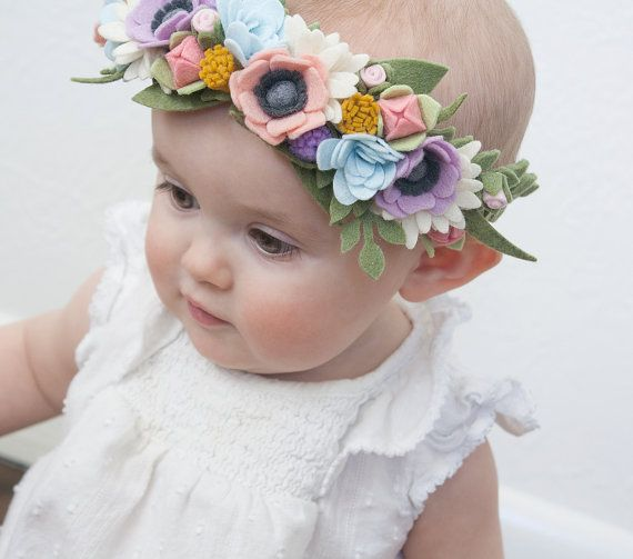 Felt Flower Crown  Baby Floral Crown  Felt by LittleSugarSnapShop                                                                                                                                                                                 More
