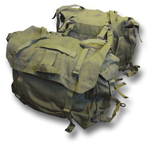 Green Motorcycle Panniers Heavy Duty Canvas Adjustable To Fit Most Bikes Plenty Of Tie Down Straps