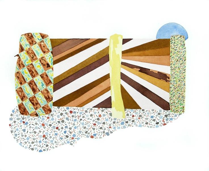 Amber Wilson, Fencesitters' Sunburst, 2009, watercolour on paper (Sold)