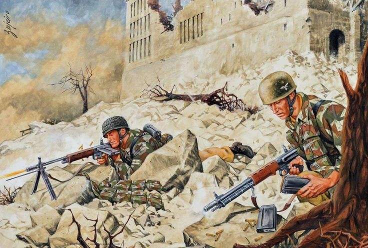 German Paras at Monte Cassino, Italy:
