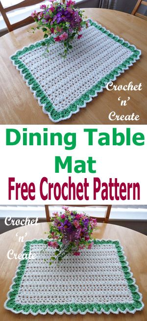 Delightful free crochet pattern for dining table mat. #crochetncreate #crochet #crochettablemat #freecrochetpattern