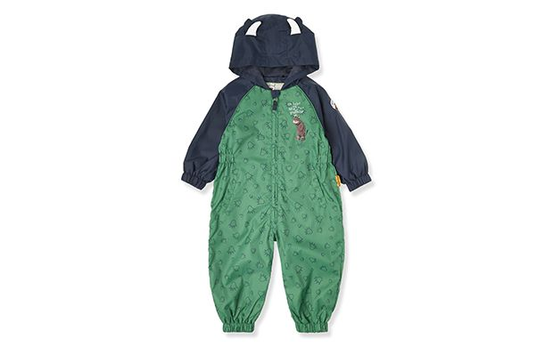 "Gruffalo Green Suit. ""Keep your little one dry on rainy days in this playful waterproof onesie."""
