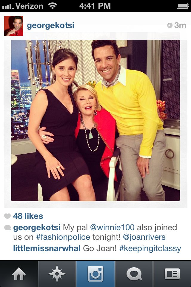 Joan Rivers (on Instagram) wearing an Antonini ring on tonight's E!'s Fashion Police episode 8/9/13.