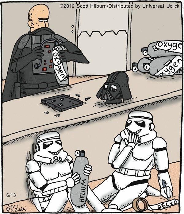 'Helium Wars', Stormtroopers swap out Darth Vaders Oxygen tank with Helium, Squeeeeee! star wars humor, illustration.
