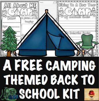 """The students """"camping"""" in your classroom this year will be able to tell you all about themselves, their classmates, their goals, and their specific fears/needs for their new year using this fun and FREE set! Have a great year! Need Matching Reward Coupons? Camping Theme 100 Reward Coupons!"""