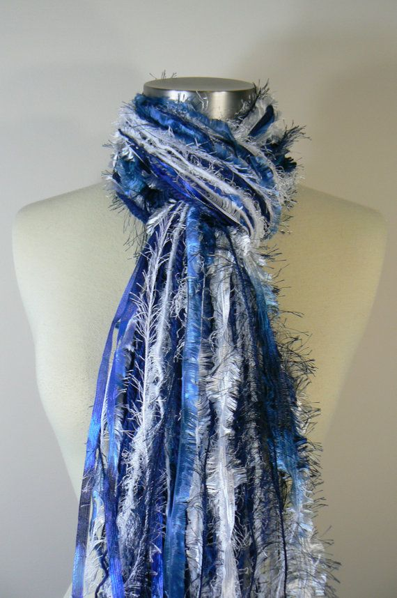 This spirit scarf has less actual textured yarns & more fun fur & even some sheer ribbon