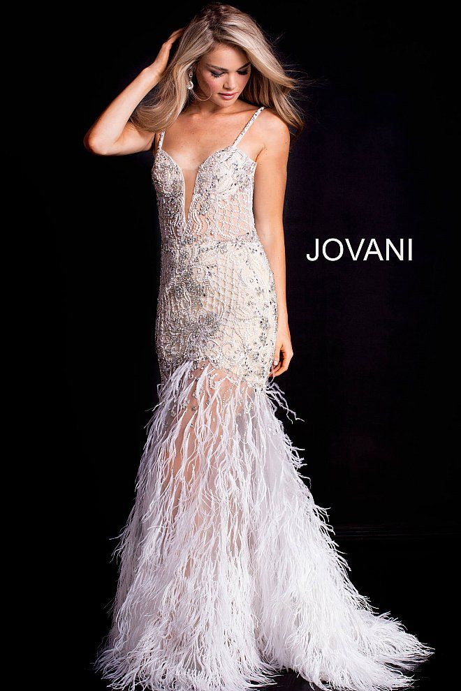 5444c2d1d017 JOVANI 2018 | White Embellished Fitted Plunging Neck Feather Prom Dress  37604 #prom2018