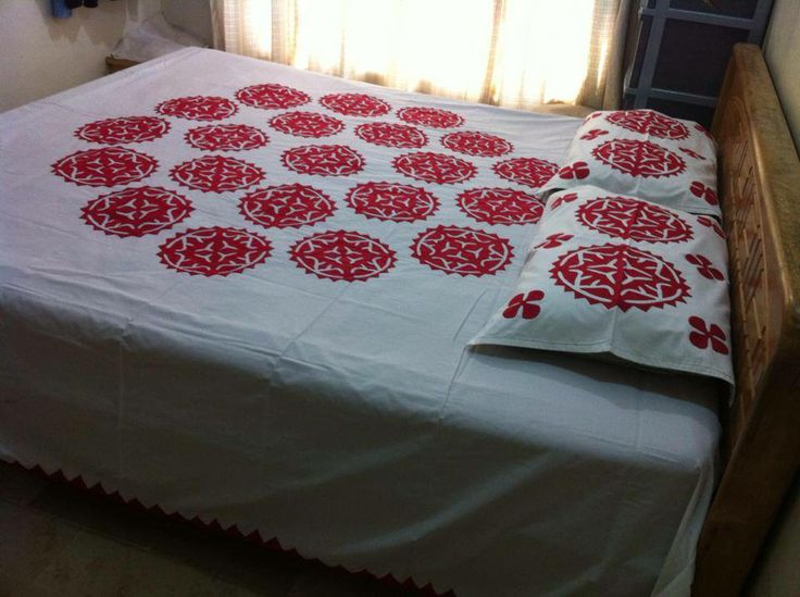 Hand Made Applique Bed Sheet Color Guarantee Fabric Pure