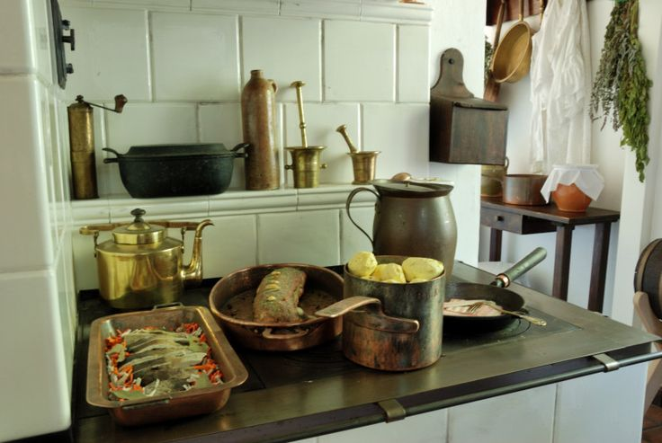 Kitchen interior in manor house. Sierpc Skansen.