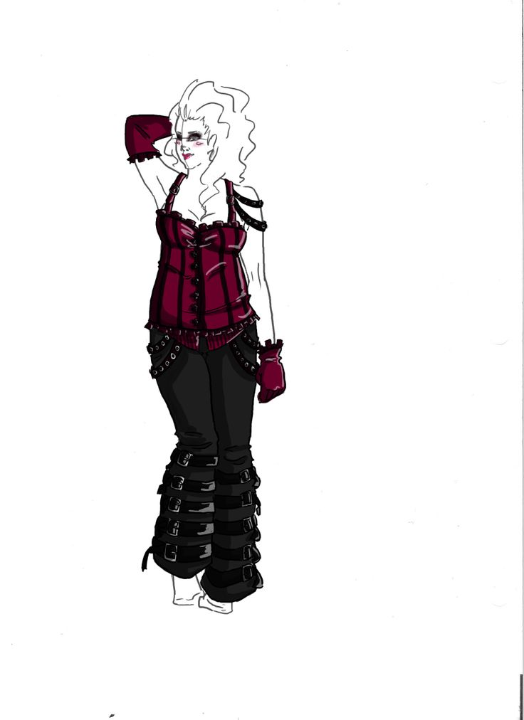 Raspberry gothic corset and pants with belts on the lower legs