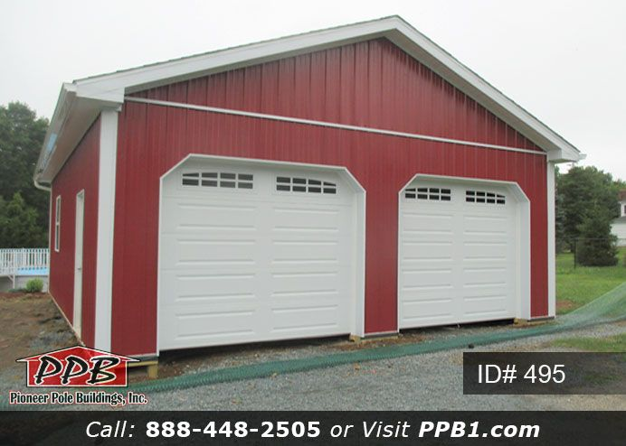 Two Car Garage 24 W X 30 L X 10 4 H Id 495 Pole Buildings Slider Door Door Overhang