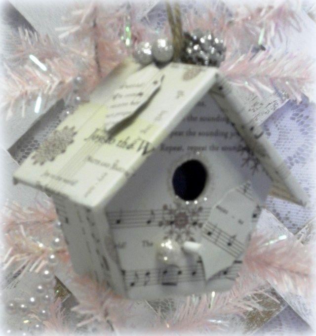 Shabby 'n Chic Vintage Sheet Music Bird House Christmas Ornament #ShabbyChicChristmas #ChristmasOrnaments