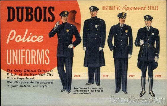 Dubois Police Uniforms vintage linen advertising postcard, 1930s - 1940s