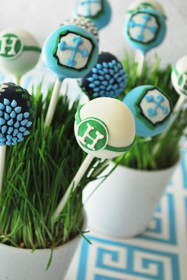 blue and green first communion cake pops.