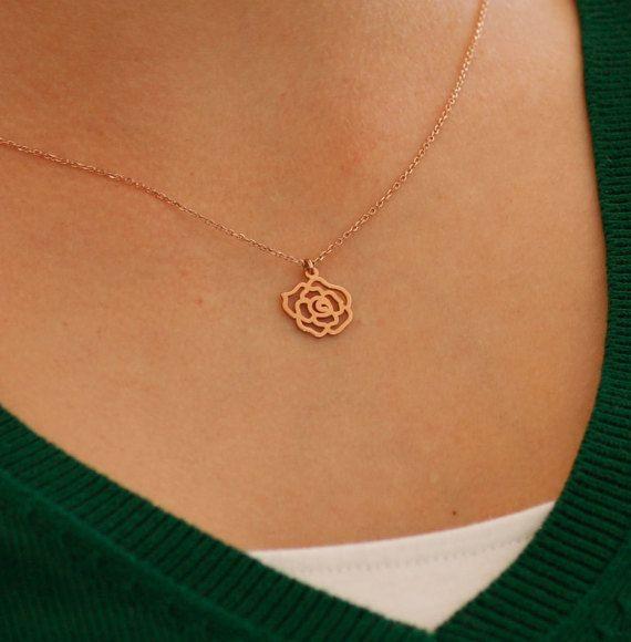 Gold flower necklace lotus flower rose gold by KyklosJewelryLab