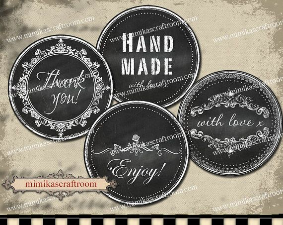 Black and White Printable Chalkboard labels by mimikascraftroom
