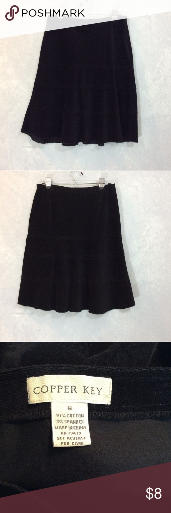 """Copper Key black sueded velvet skirt Size 6 *C-060 This cute tiered skirt is 97% cotton, 3% spandex, soft velvety, suede-like feel to fabric  *Measurements: Waist: 14"""". Length: 23"""" *Side zip, raw edge hemline *A fun, swingy skirt so you can  *Make room 4 happy Copper Key Skirts Mini"""