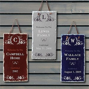 """OMG .. SO in love with these Established© Personalized Slate Plaques from PMall! You can pick from 4 colors and personalize them with your family name, """"established date"""" and it even has your monogram at the top! It's only $28.95 and it would make the CUTEST Wedding Gift or Housewarming Gift too! I'm totally getting one of these! #Wedding #Housewarming #Monogram"""