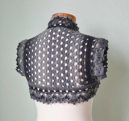Crochet shrug vest bolero lace grey gray H801 | Berniolie - Clothing on ArtFire