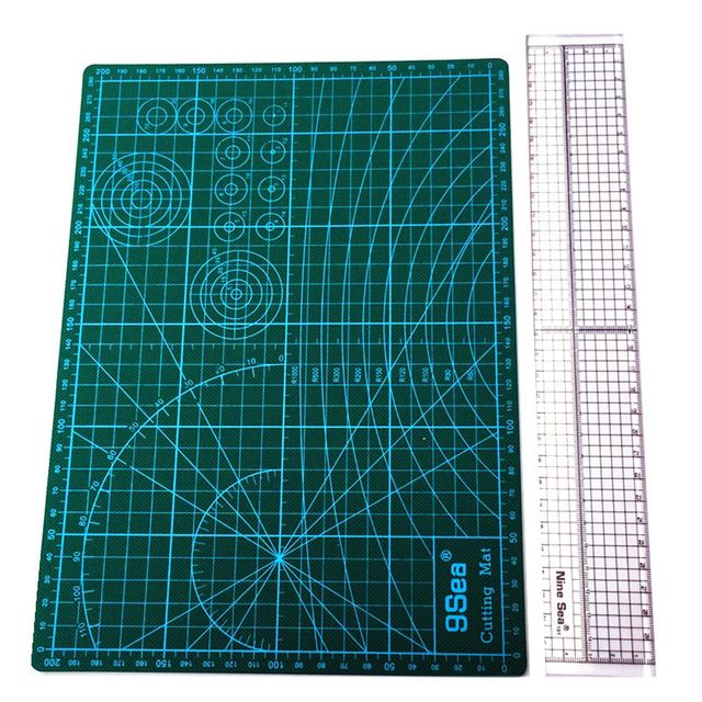 Free Shipping 2pcs Household Hand Sewing Supplies Acrylic Material 5 * 30cm Patchwork Ruler And A4 Cutting Mat