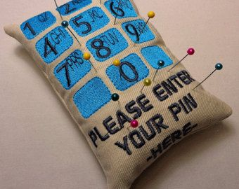 Enter Your Pin Pincushion Machine Embroidery Design FUNNY :)