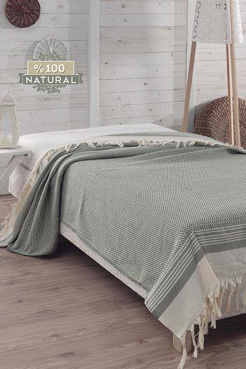 Halványzöld pamut ágytakaró