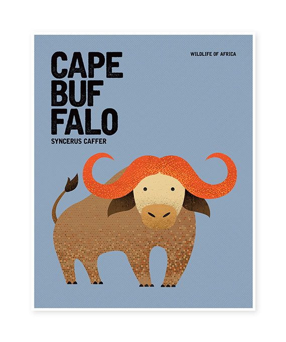 CAPE BUFFALO Wildlife of Africa Nursery Rustic Retro Vintage Minimal Design Animal Poster Wall Art Print | Nursery prints wall art prints australia notebooks journals greeting cards bookmarks gift tags stickers greeting cards postcards shop online @ Red Rabbit Republic Australia
