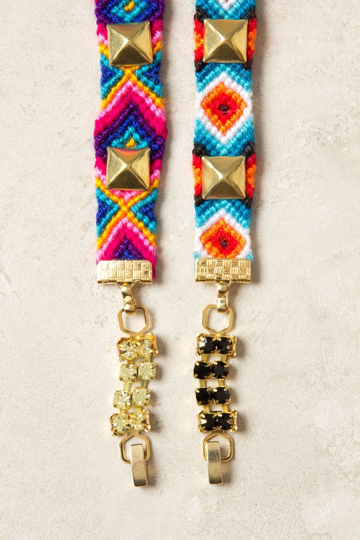 Friendship Bracelet With Studs And Crystal Embellished Clasps