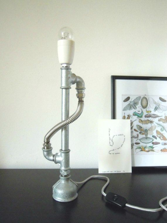Items similar to candlestick lamp with porcelain lampholder hoses fabric cable silver on etsy