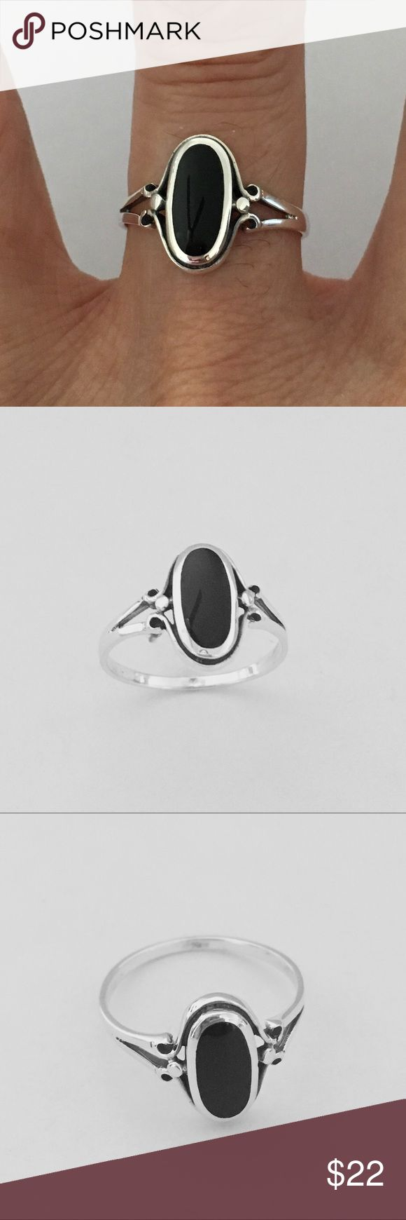 Sterling Silver Oval Black Onyx Ring Sterling Silver Black Onyx Oval Ring, Pinky Ring, Index Ring, Thumb Ring, 925 Sterling Silver, Stone Black Onyx, Face Height 13 mm Jewelry Rings