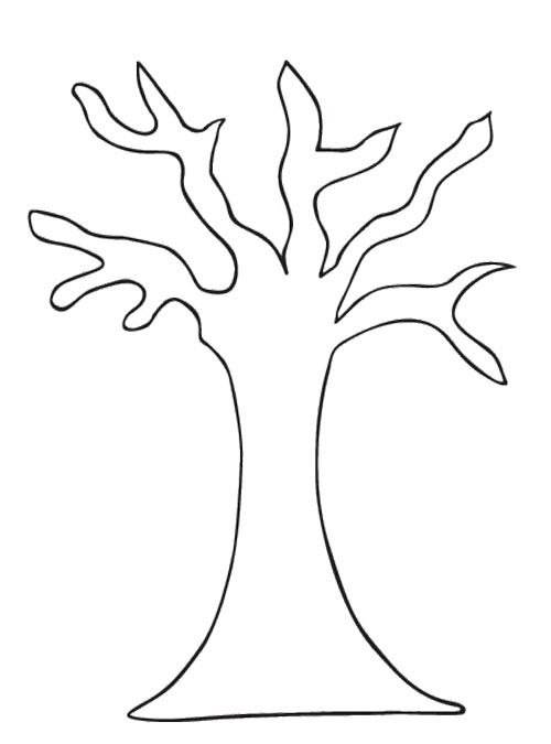tree pattern without leaves coloring page - Tree Leaves Coloring Page