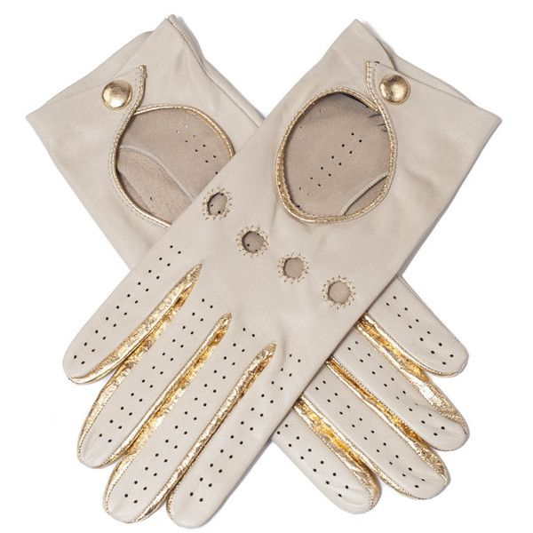 Black Supersoft Cream and Gold Nappa Leather Driving Gloves (145 CAD) ❤ liked on Polyvore featuring accessories, gloves, cream gloves, gold glove, driving gloves, knuckle gloves and black gloves