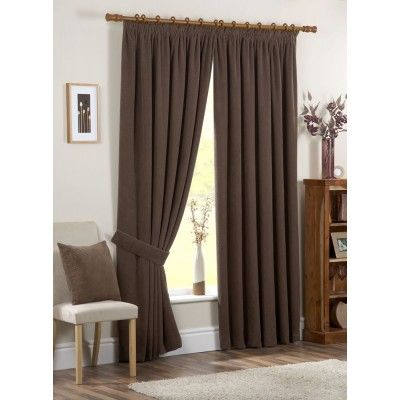 Chenille Spot Ready Made Curtains Chocolate
