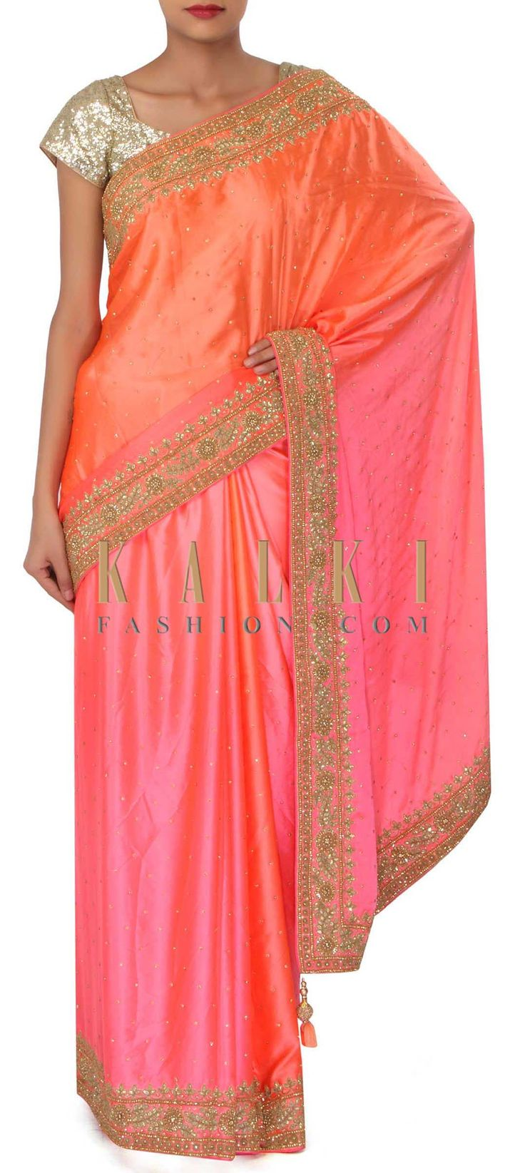 Pink and peach satin saree in kundan embroidered border only on Kalki