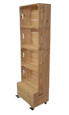 Stacking crate moveable display unit. Add bins for organizing. Great for art supplies, books, candles, craft supplies, laundry baskets. Add tension rods to hold scrapbook & journal papers, stencils, quilting fabrics, ziploc bags, baby & toddler clothes. Store hangers above laundry baskets & hang an ironing board on side hooks. Endless possibilities!