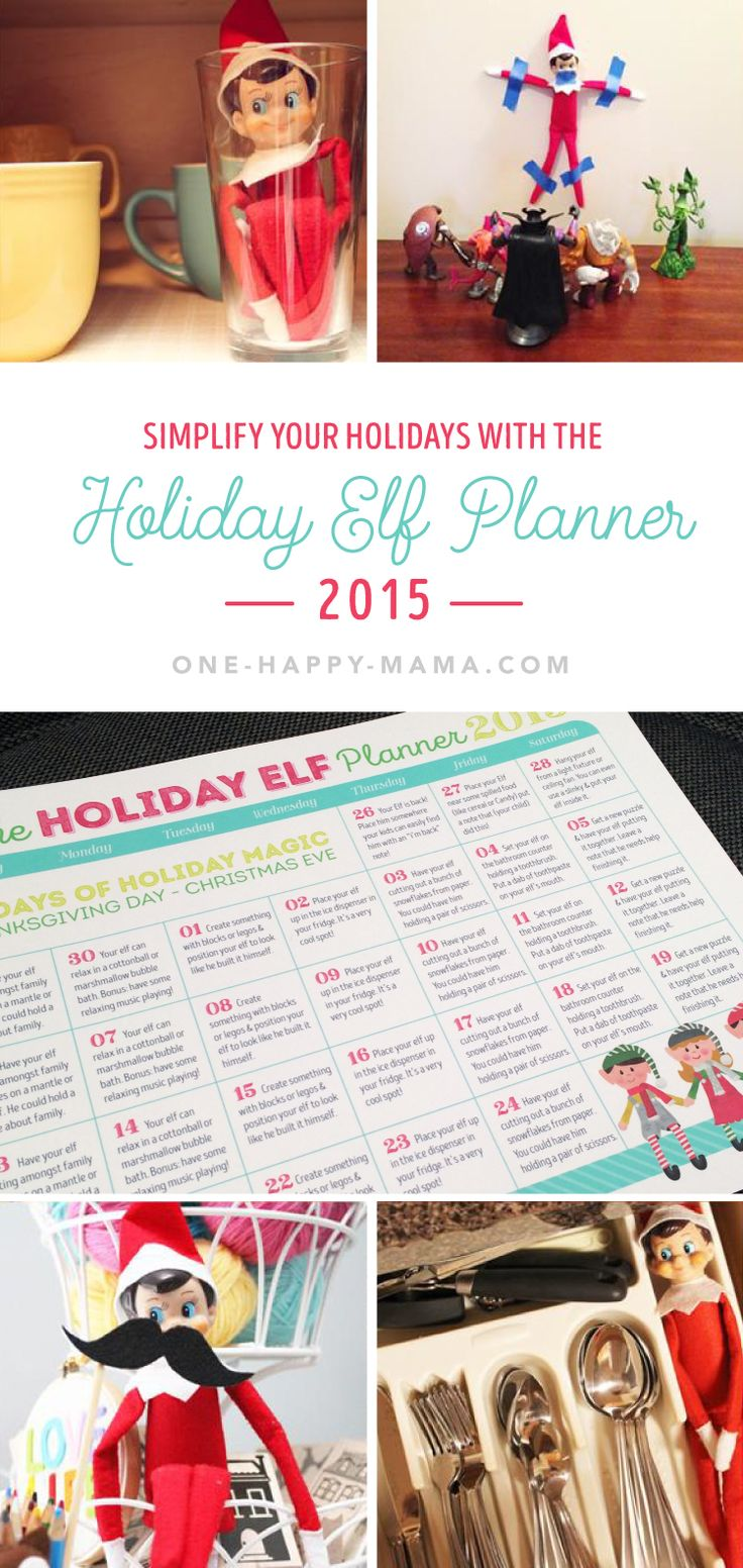 Elf on the Shelf - keep this holiday tradition simple with a FREE printable Elf on the Shelf planning calendar.