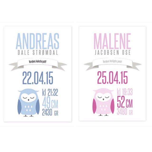 NYHET: Nye design på våre populære fødselsplakater  #kidsparadise #fødselsplakat #fødselstavle #dåpsgave #ugledilla #barnerom #barnrum #frifrakt