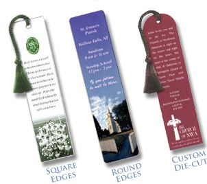 Full color bookmarks can be printed in many different sizes and styles. Printing and finishing options include die cutting, tassels, and laminated bookmarks. Keep your customers attention by giving them something of value, having your business image constantly in the eyes of your clients will keep your business in mind