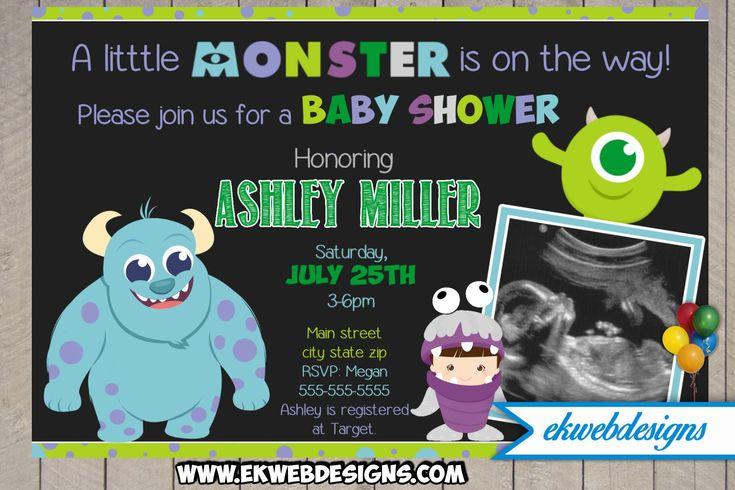 Custom Monster Inc Baby Shower Invitation - Monster University Sonogram Baby Shower Invite