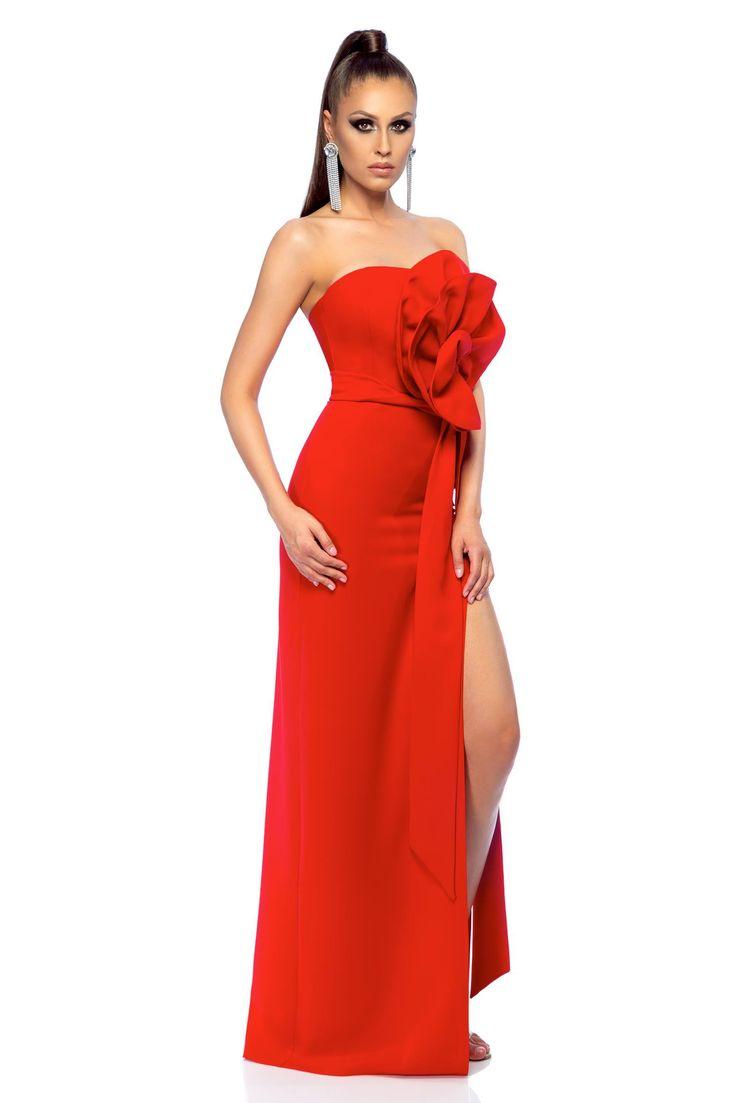 Ana Radu elegant red long sleeveless dress, floral details, back zipper fastening, slightly elastic fabric