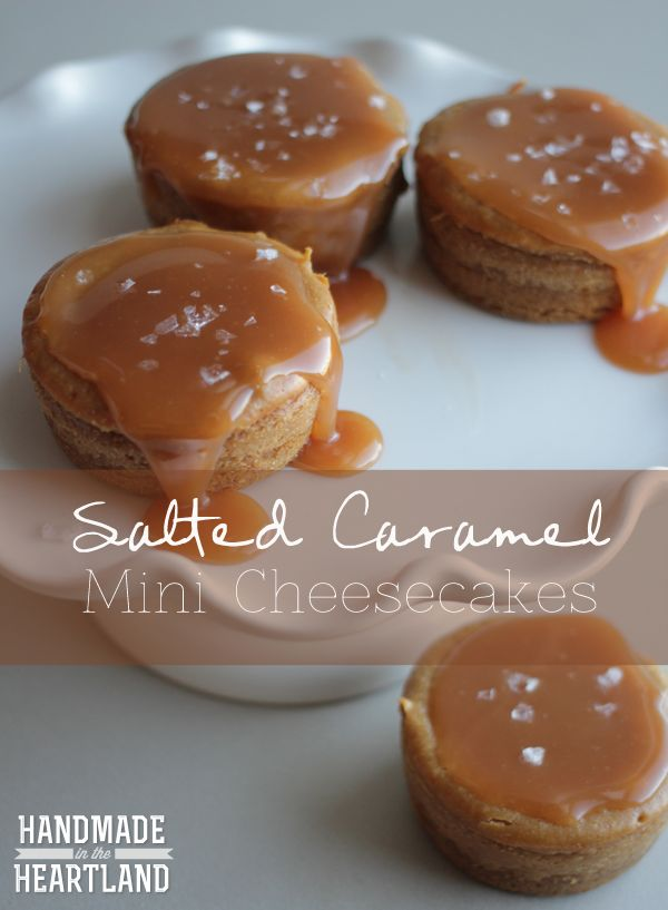 Salted Caramel Mini Cheesecakes. Seriously one of my favorite cheesecake recipes! so good! perfect dessert. HandmadeintheHeartland.com
