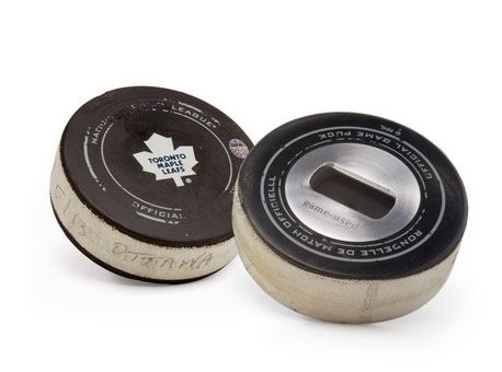 Game-Used NHL Puck Bottle Opener