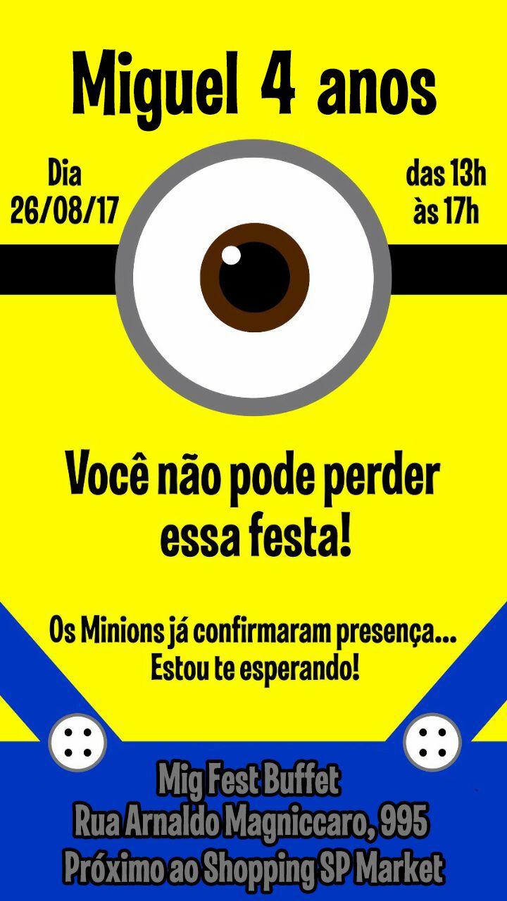 Convite Minions Miguel 4 anos
