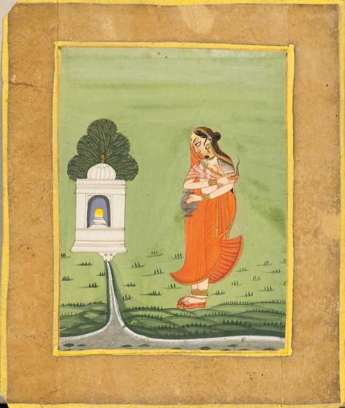 A MINIATURE PAINTING OF BHAIRAVI RAGINI. Pigment colours, silver and gold on paper, India, Jodhpur, late 18th century