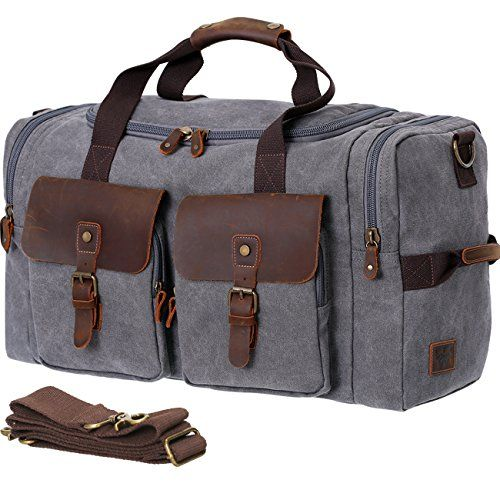 Kattee Men s Leather Canvas Backpack Large School Bag Travel ... 4693f41a639a7